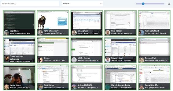 Tüm personelin ekranları tek bir ekranda bütünleşik olarak gösterilir